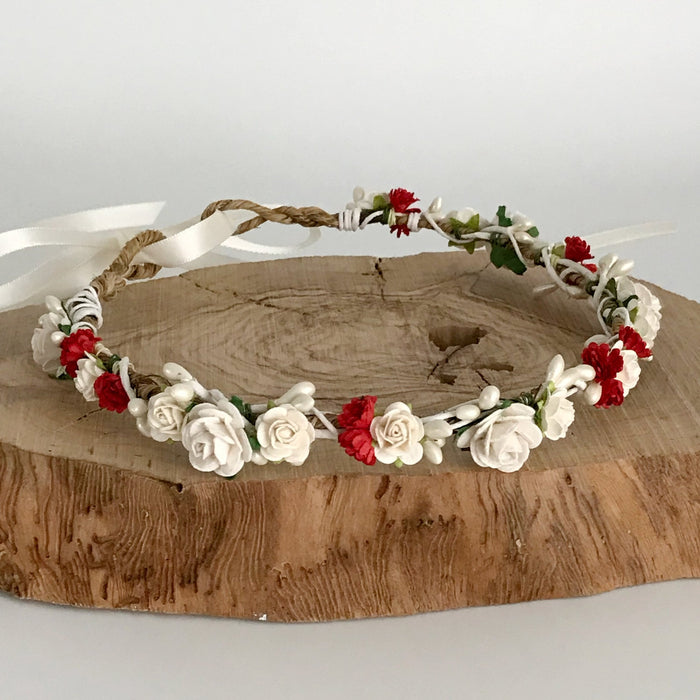red and ivory wedding flower crown for woodland wedding