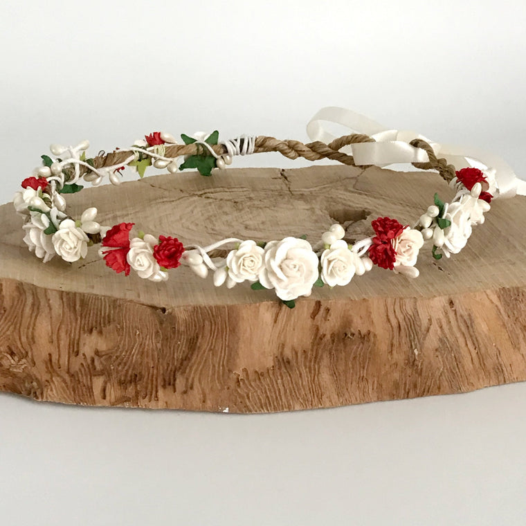 CATHERINE Ivory Rose and Red Gypsophila Flower Crown
