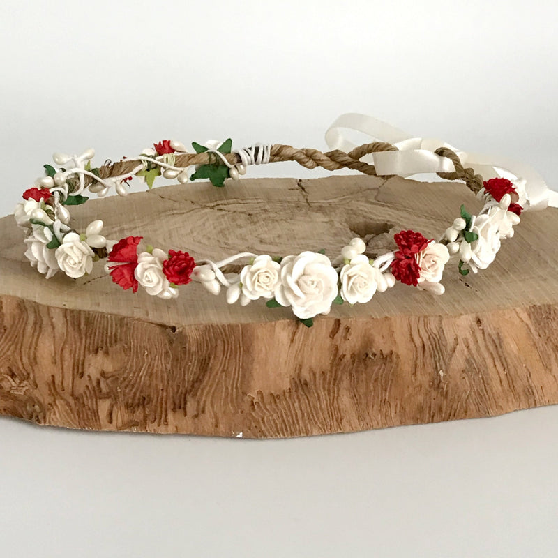red and ivory flower crown