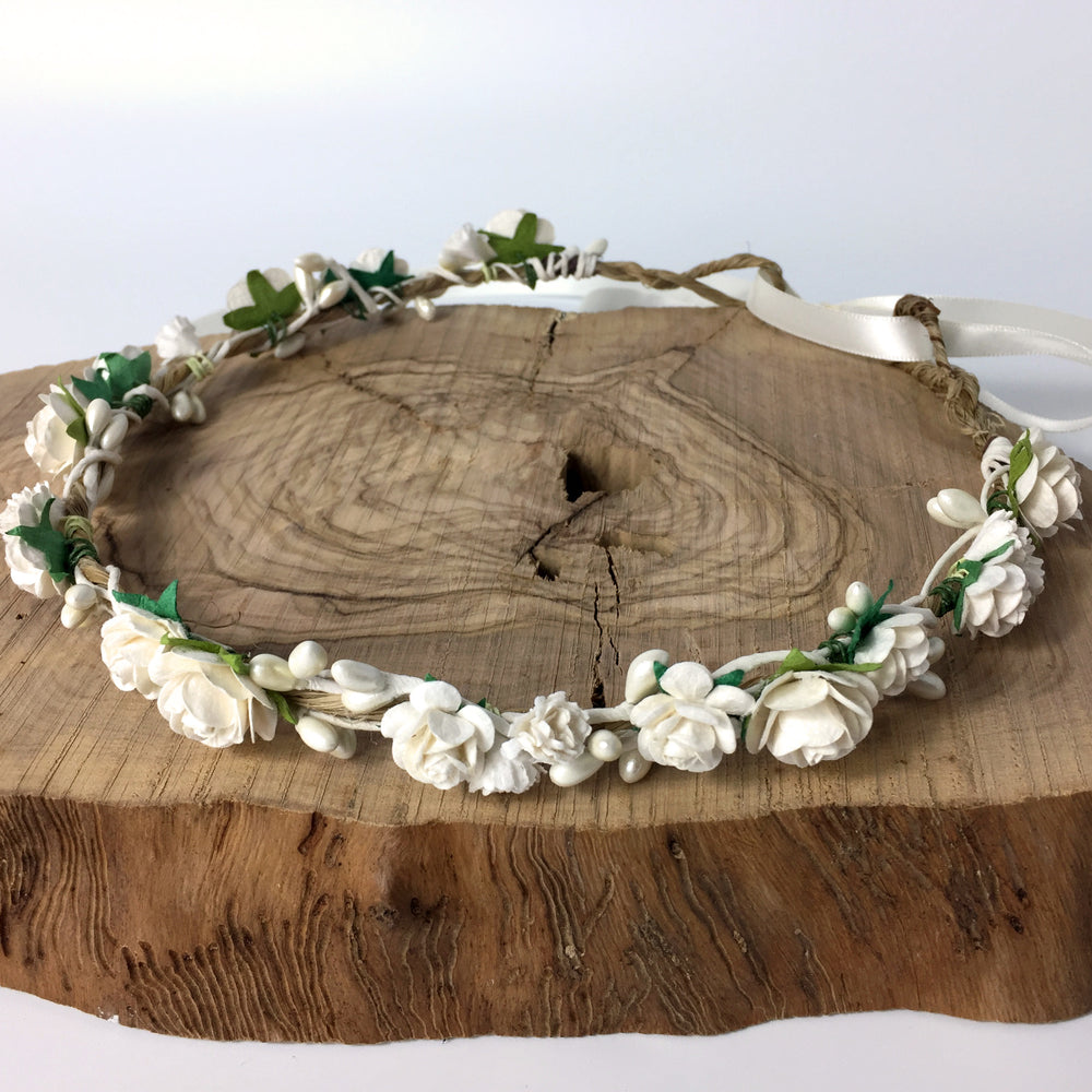 Load image into Gallery viewer, ivory rustic wedding flower crown