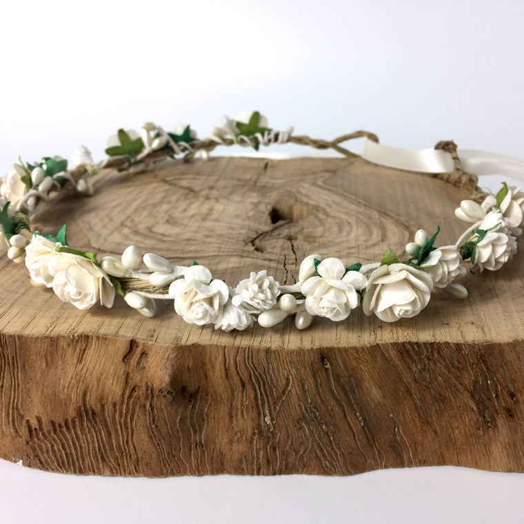 CATHERINE Ivory Rose and Gypsophila Flower Crown