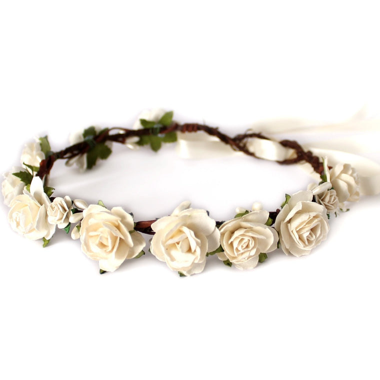 CHARLOTTE Chocolate and Ivory Rose Floral Crown
