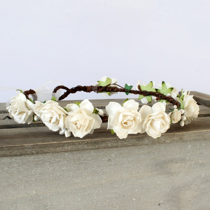 ivory rose wedding flower crown