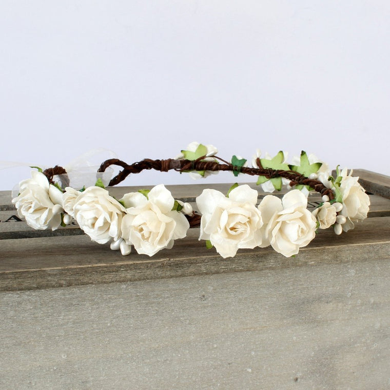 CHARLOTTE Ivory Rose Floral Crown