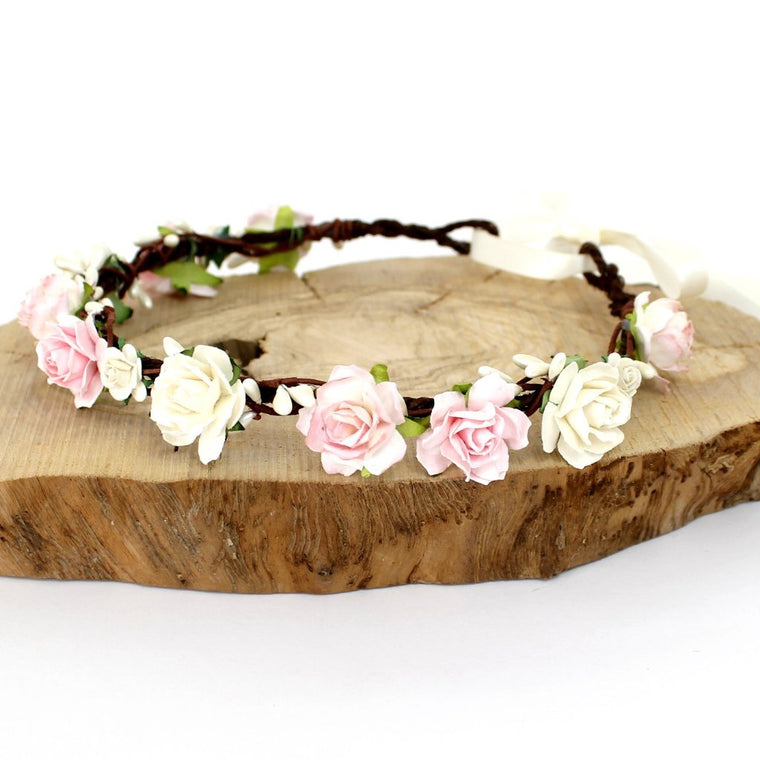 CHARLOTTE Pale Pink and Ivory Rose Floral Crown