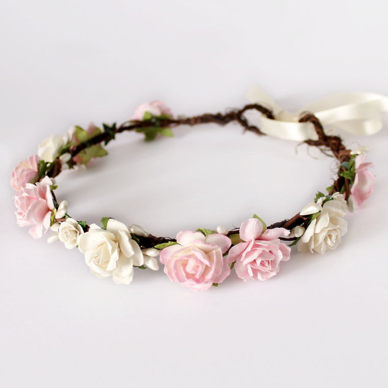 CHARLOTTE Pale Blush Pink and Ivory Rose Floral Crown