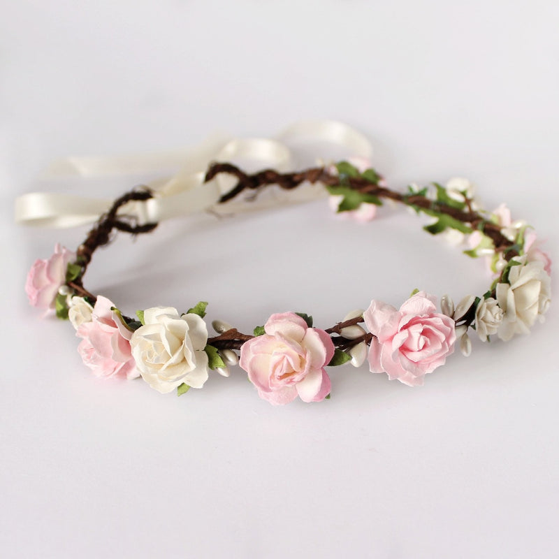pale blush pink bridal flower crown