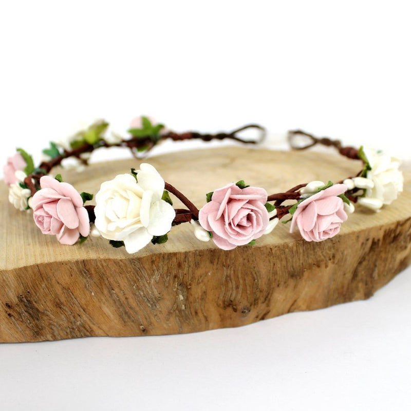 dusky pink blush flower crown for wedding