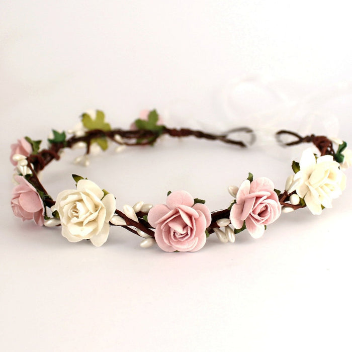 Blush pink rose floral crown