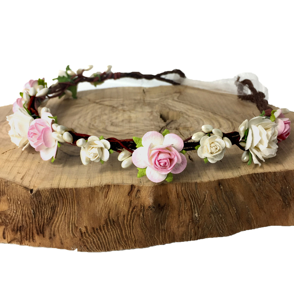 wedding flower crown baby pink