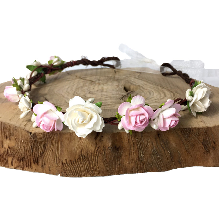 pale pink wedding flower crown