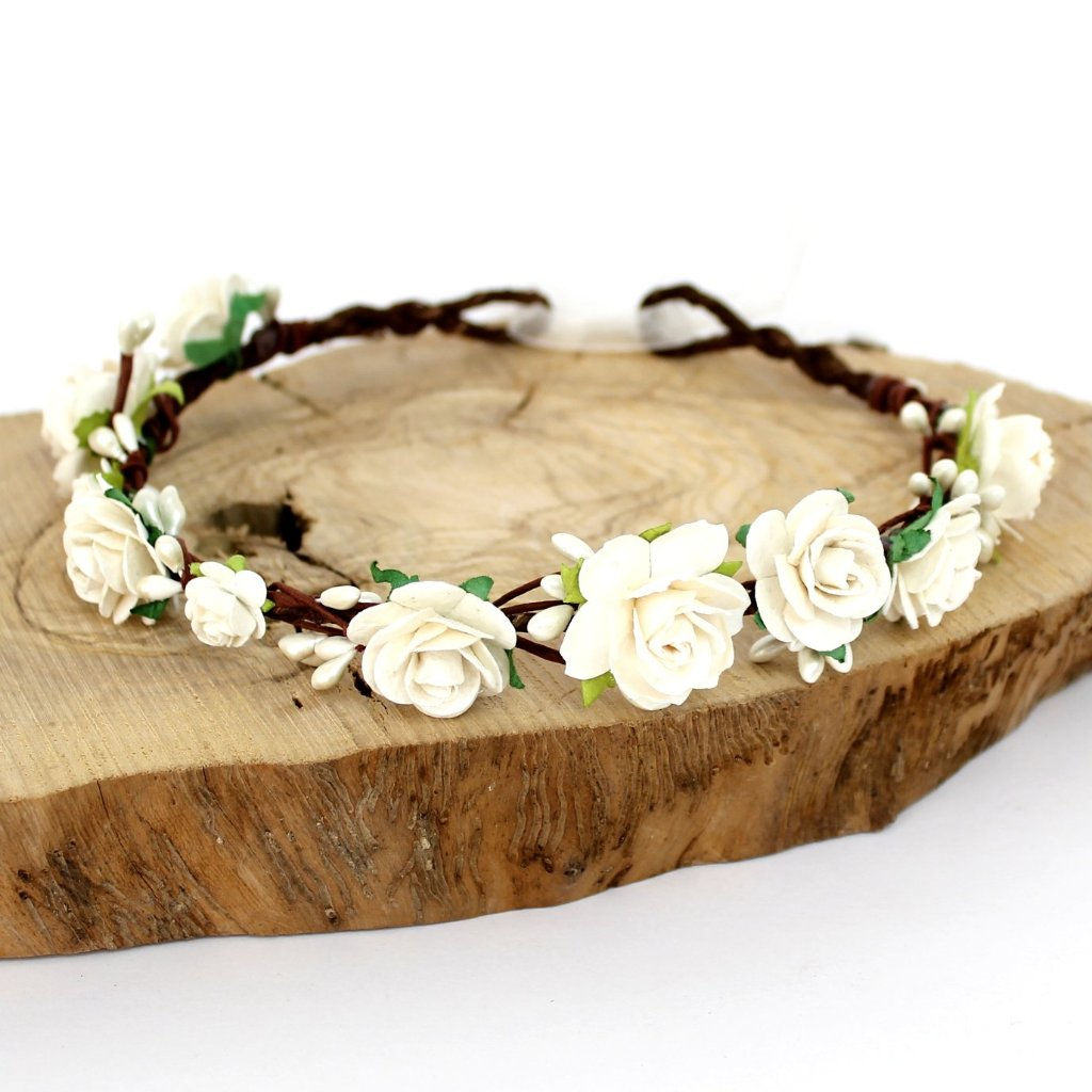 wedding flower crown in ivory