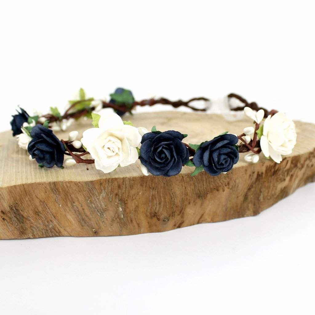 navy flower crown wedding