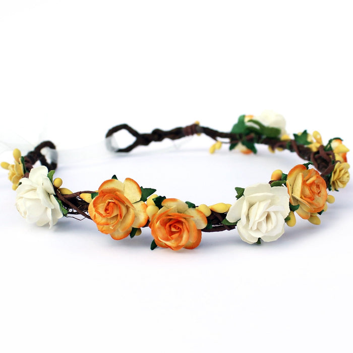 Yellow Floral Crown bridal hair accessories