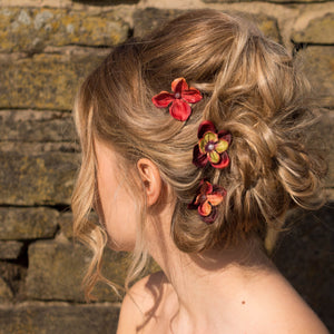 Load image into Gallery viewer, autumn floral hair clips