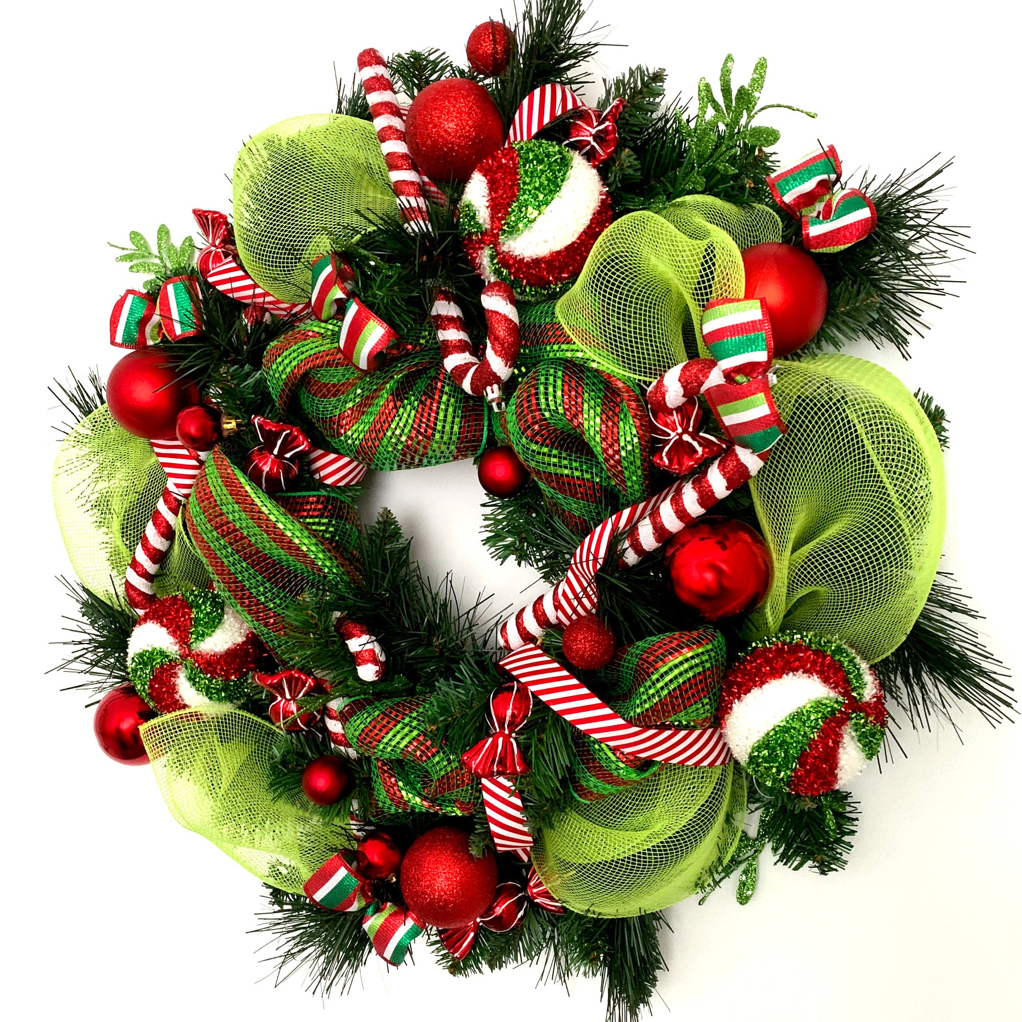 Candy Cane Swirl Christmas Wreath