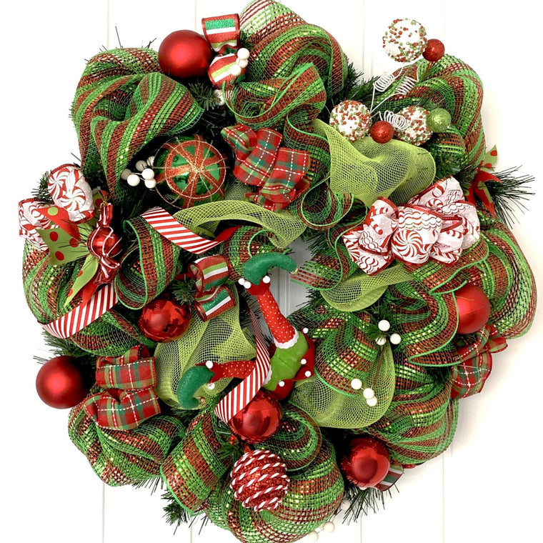 Candy Cane Elf Christmas Wreath - Large