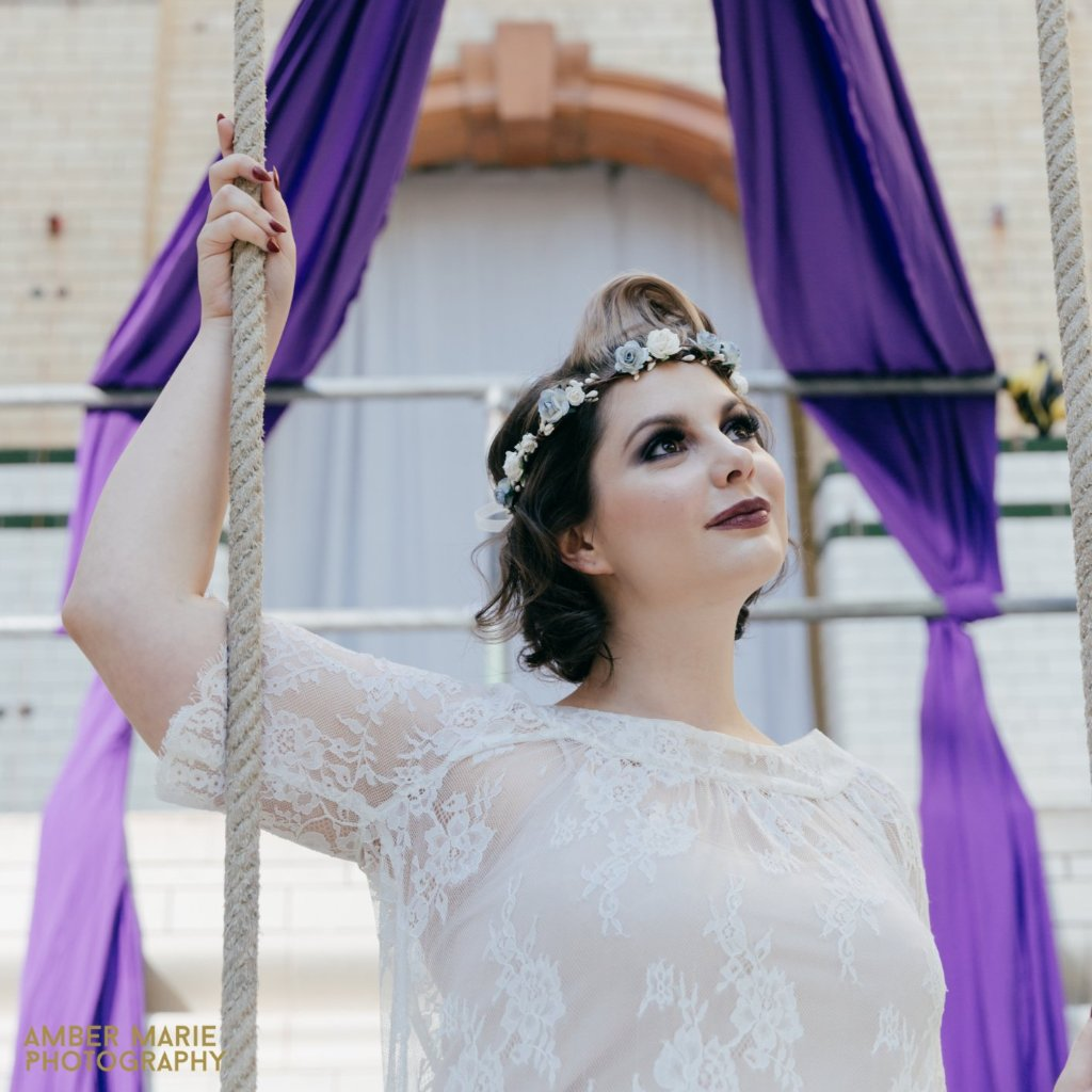 pale blue flower crown wedding photographer