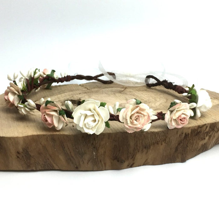 COCO Ivory and Peachy Pink Flower Crown