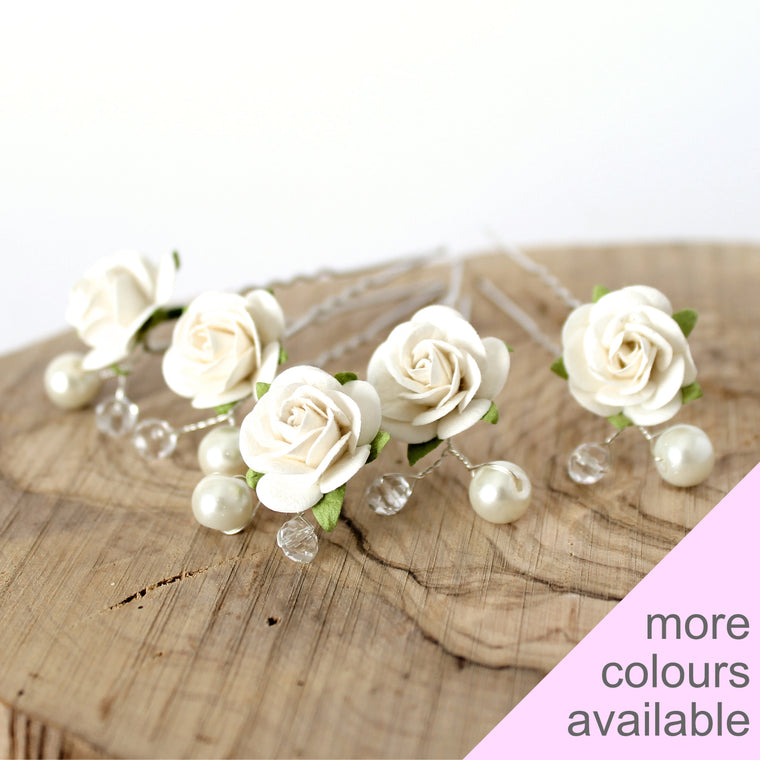 DANIELLA Rose and Pearl Hair Pins