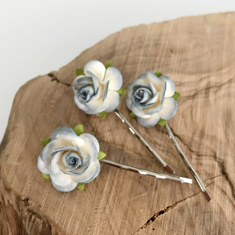 blue rose hair clips for wedding