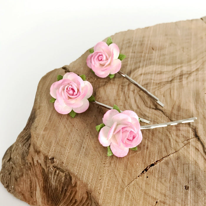 pink rose hair clips for wedding