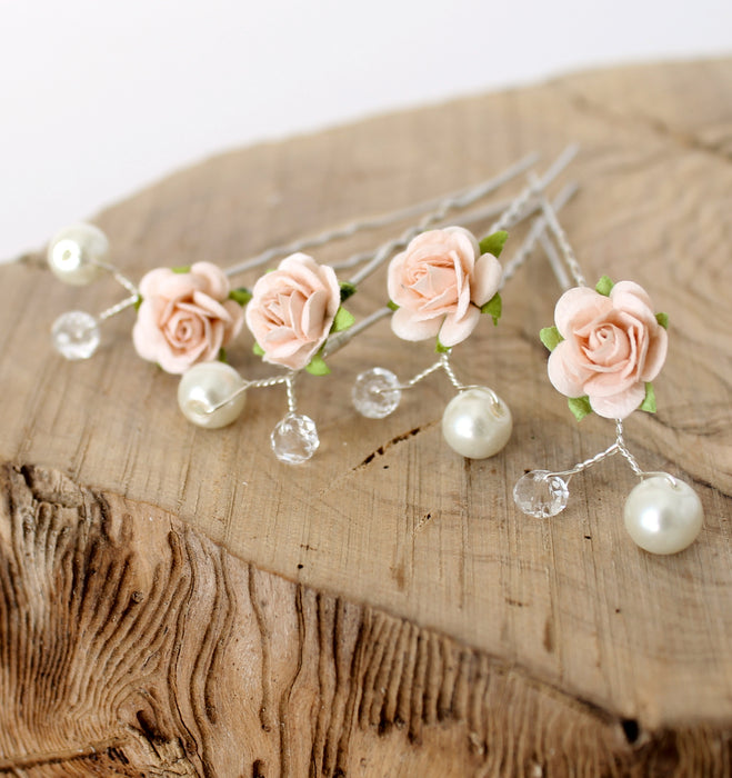 peach rose hair pins