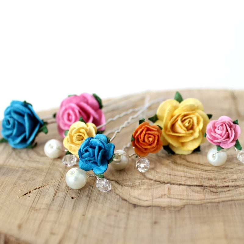 Rose Hair Pin Mix - set of 7