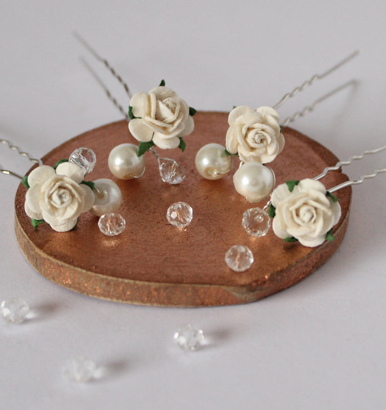 ivory hair pins wedding