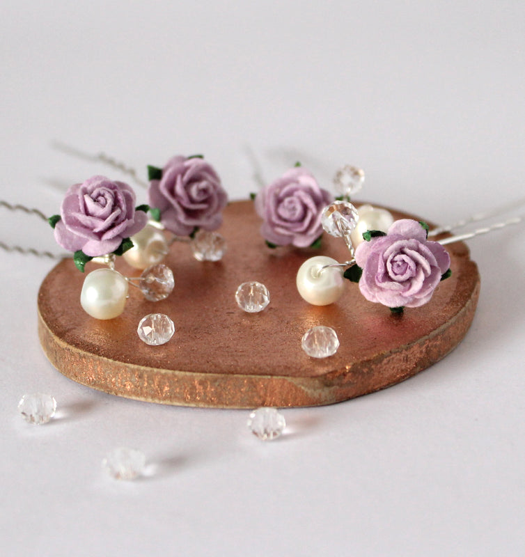 lilac rose hair pins bridesmaid
