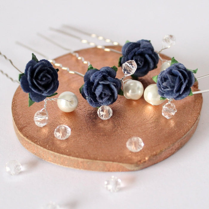 navy rose hair pins with pearls