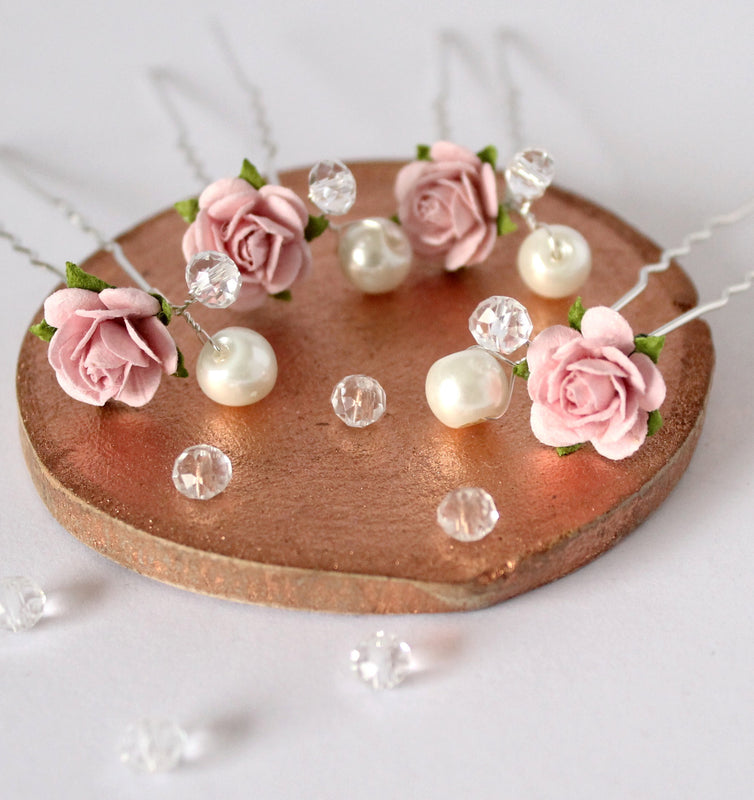 pink wedding hair pins