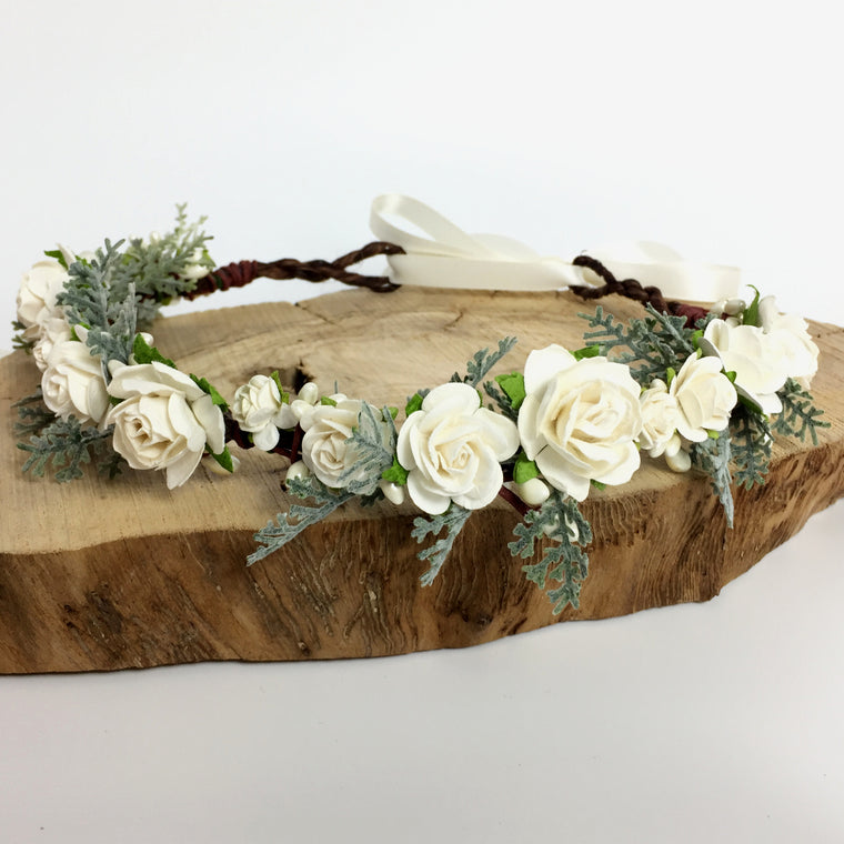 EDITH Ivory Rose and Fern Flower Crown