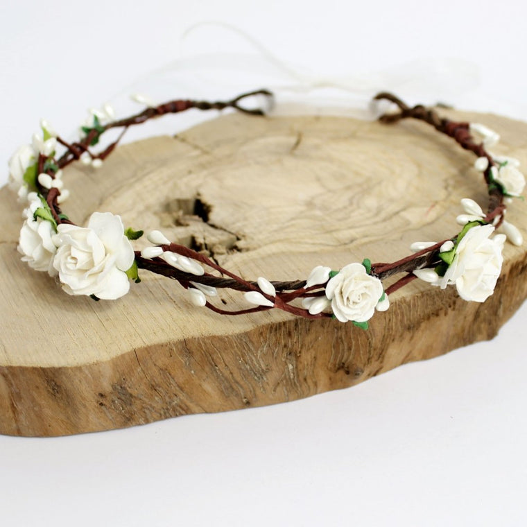 ELSIE Ivory Rose Pip Berry Flower Crown