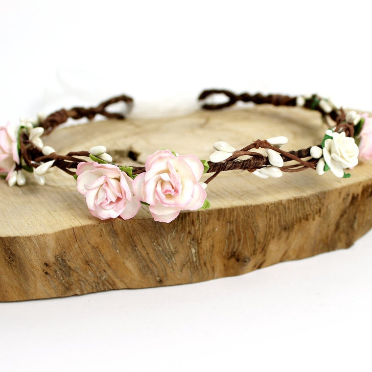 ELSIE Pale Blush Pink and Ivory Rose Pip Berry Flower Crown