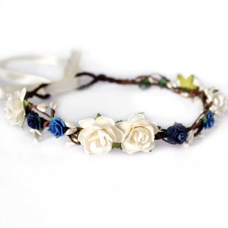 EMILY Blue and Ivory Rose Floral Crown