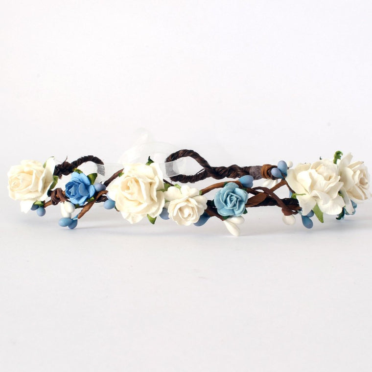 ERIN Ivory Rose and Blue Pip Floral Crown
