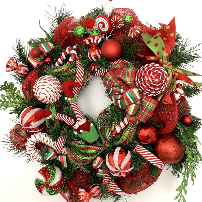 elf candy cane christmas wreath