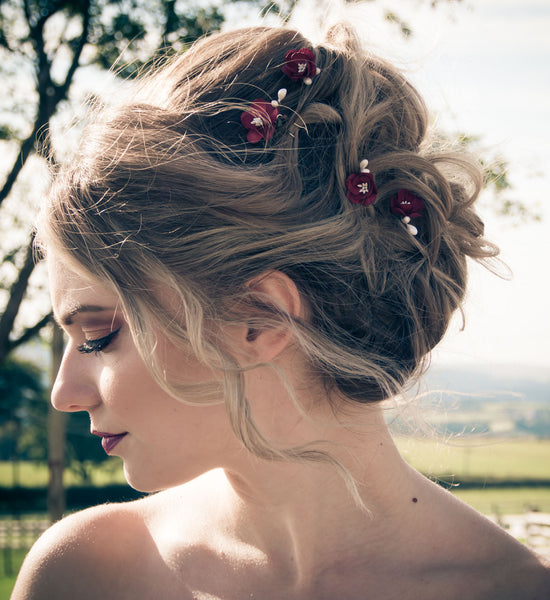 Deep red bridal hair pins