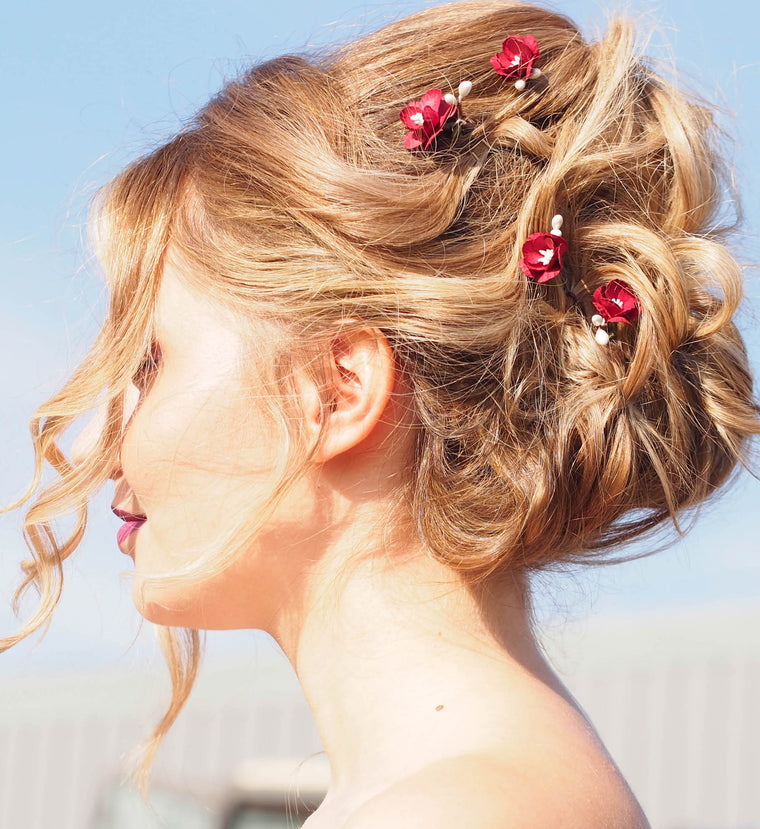FAY Deep red Cherry Blossom Hair Pins