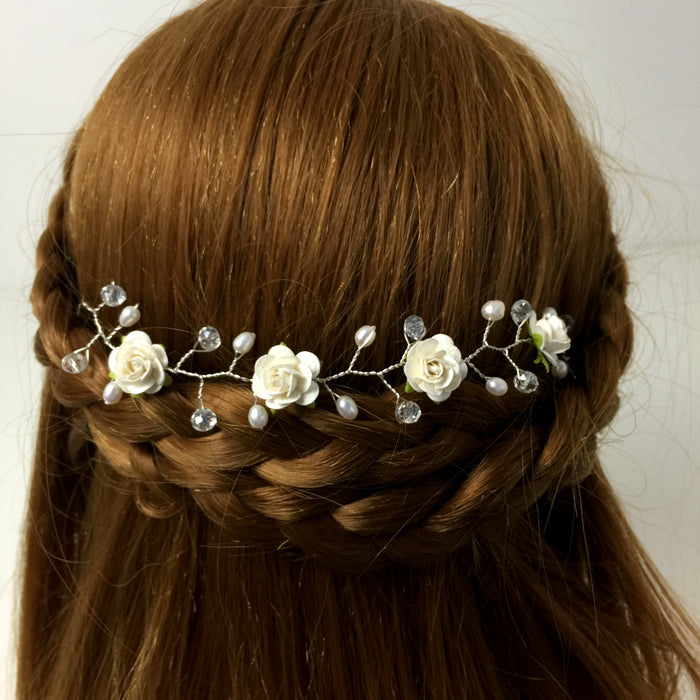 ivory rose and pearl wedding hair vine
