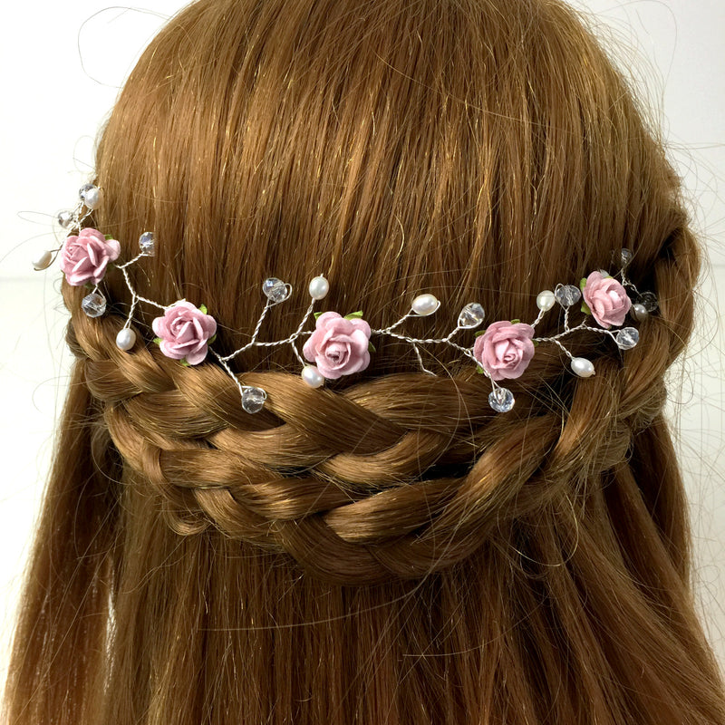 FLORENCE Rose and Freshwater Pearl Hair Vine