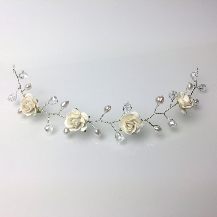 ivory rose hair vine for wedding with freshwater pearls