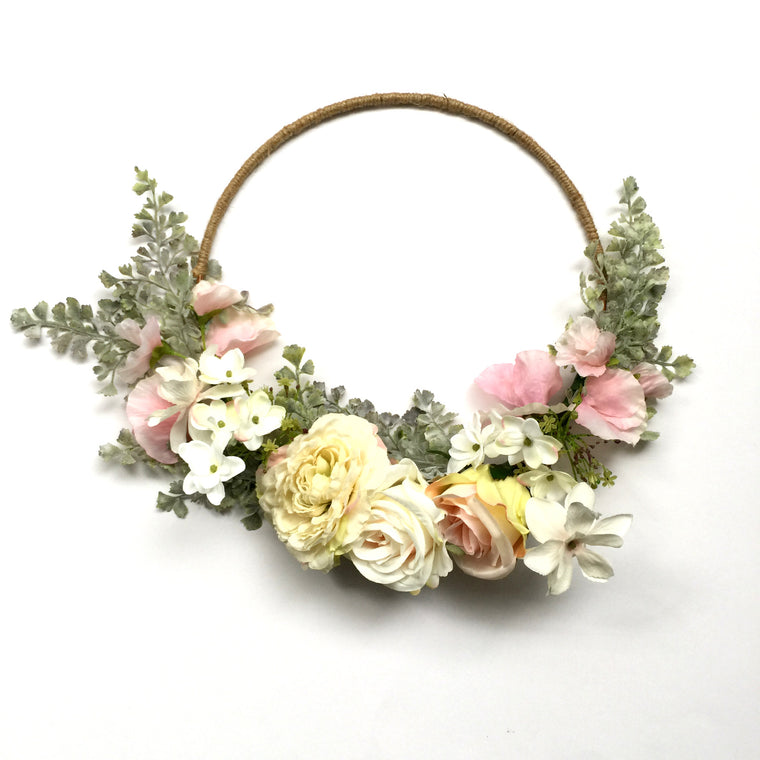 Pink Floral Wedding Hoop Bouquet