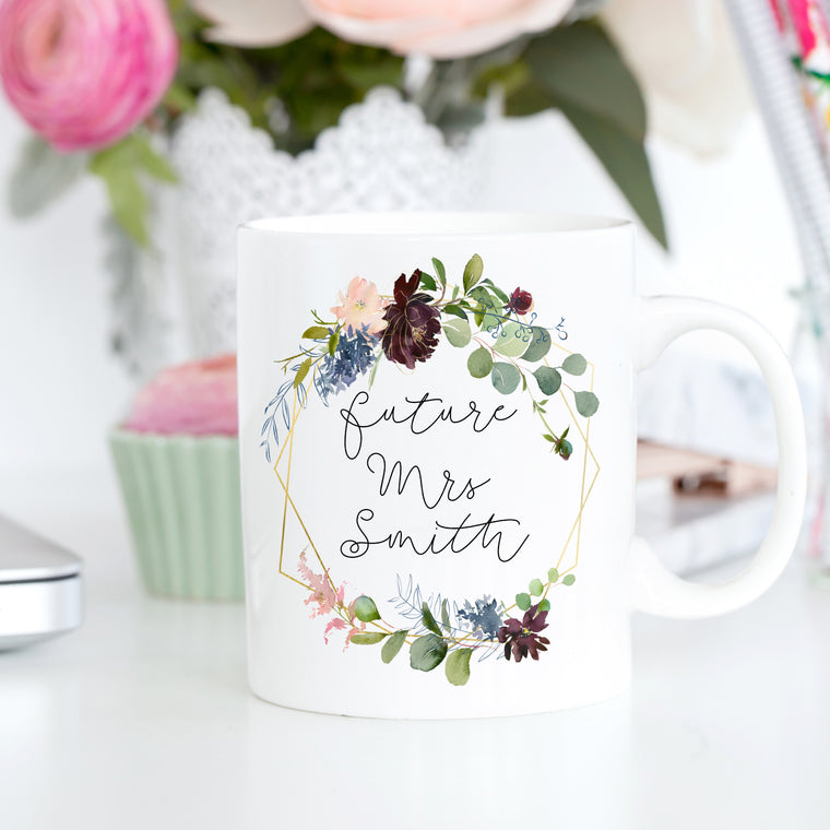 Personalised Future Mrs Floral Mug