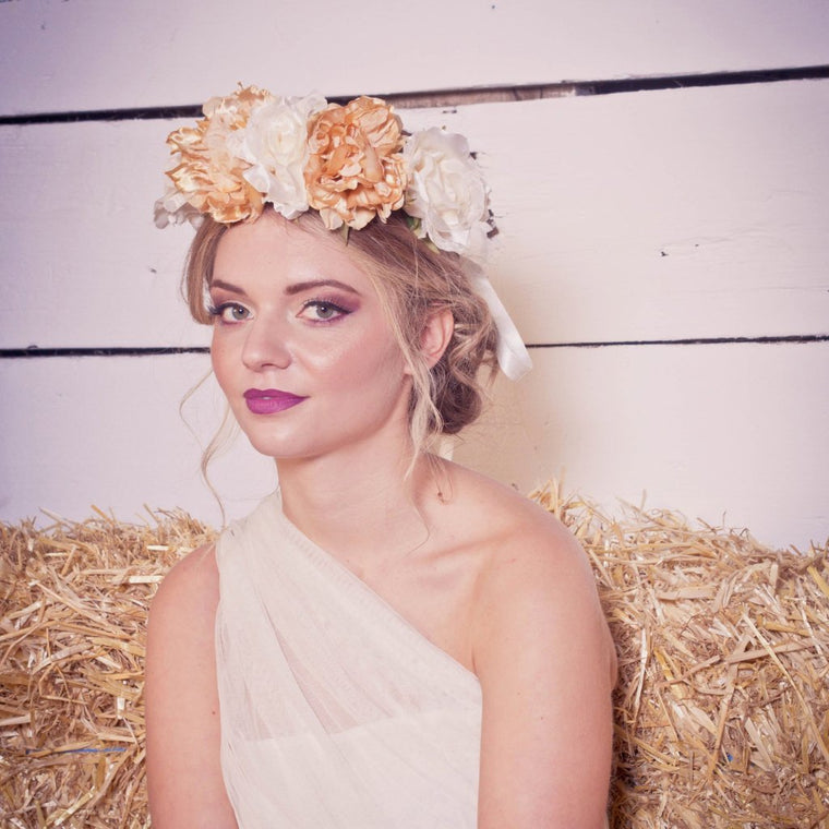 GRETA Ivory and Gold Flower Crown