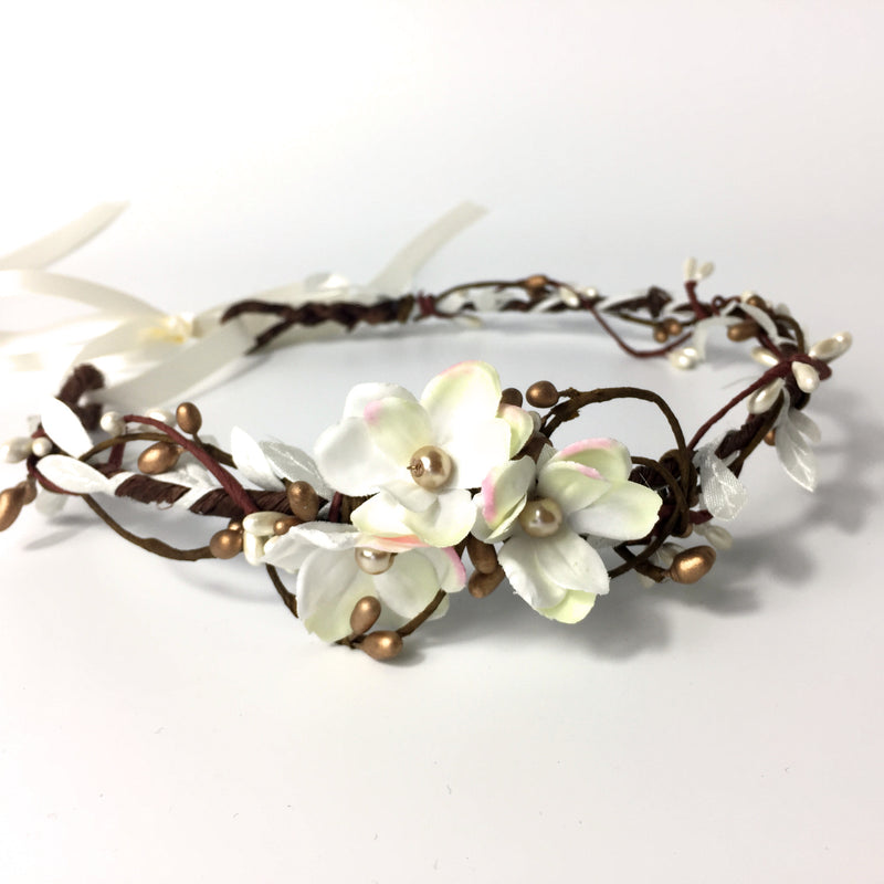 flower crown with gold berries