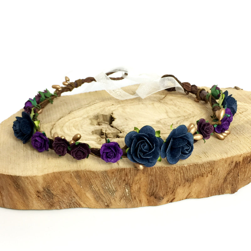 navy and purple flower crown