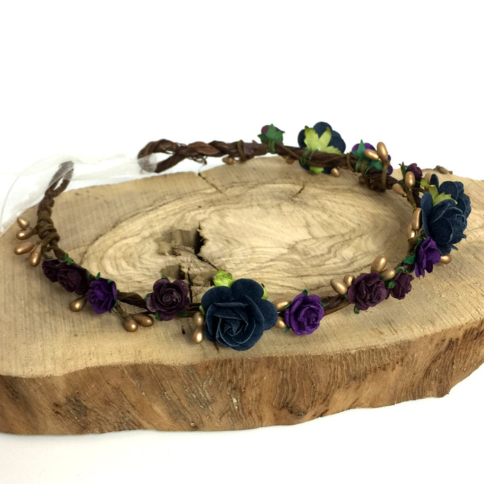 HOLLIE Navy and Purple Flower Crown