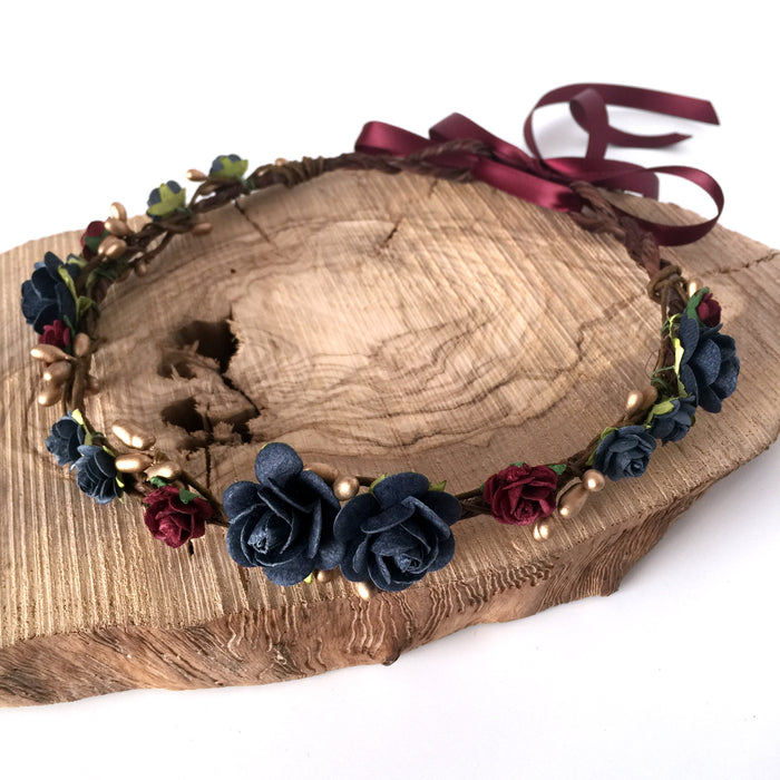 navy and deep red flower crown